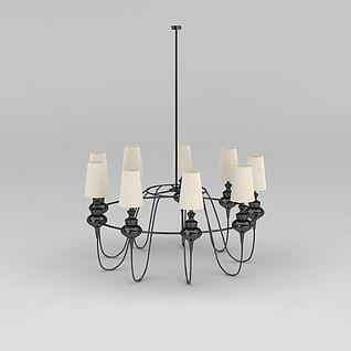 美式铁艺吊灯3d模型3d模型