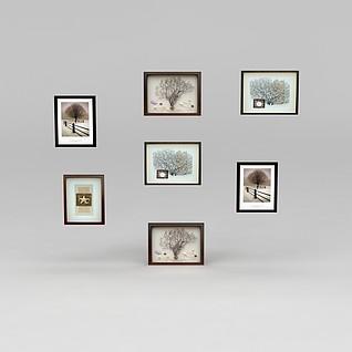 创意墙壁装饰挂画3d模型3d模型