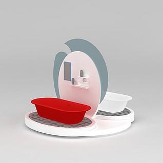 双面洗手台盆3d模型