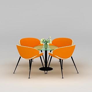 橘色洽谈桌椅3d模型3d模型