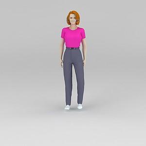 紫色T恤美女模型