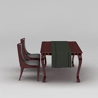 美式简约餐桌椅3d模型3d模型