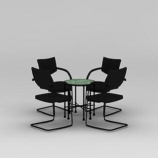 简约黑色洽谈桌椅3d模型3d模型
