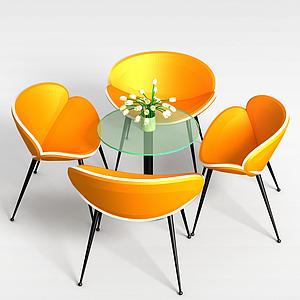 橘色洽談桌椅模型