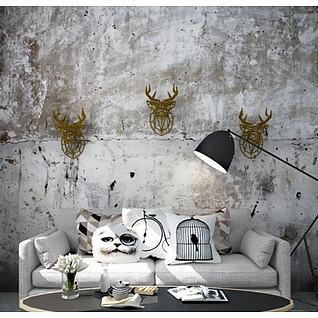 工业风沙发茶几墙饰品组合3d模型