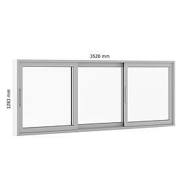 白色推拉式窗户模型