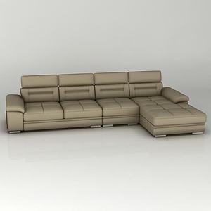 棕色組合沙發模型3d模型