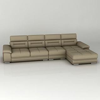 棕色组合沙发3d模型