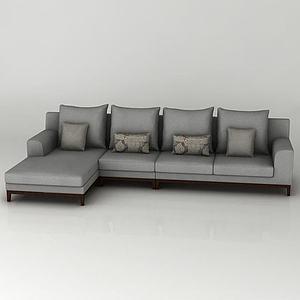 灰色布藝轉角沙發模型3d模型