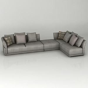 灰色拐角沙發模型3d模型