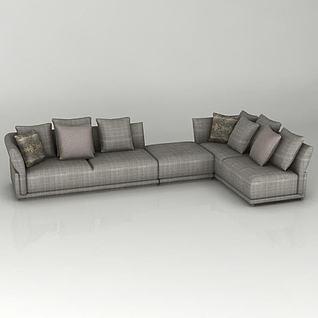 灰色拐角沙发3d模型