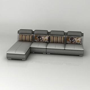 简约转角沙发3d模型