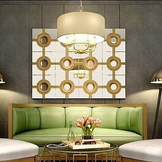简欧弧形沙发奢华椅子组合3d模型