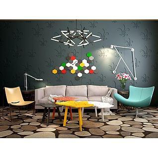 波普沙发茶几吊灯组合3d模型