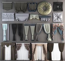 现代窗帘卷帘组合模型