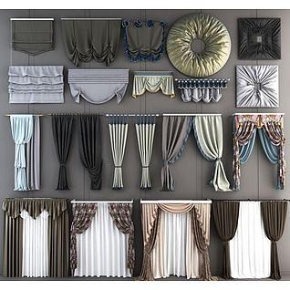 现代窗帘卷帘组合3d模型