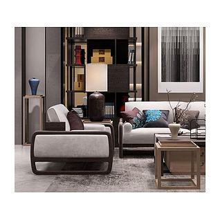 新中式沙发椅子装饰品组合3d模型