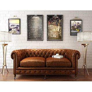 美式沙发落地灯组合3d模型