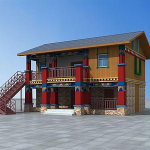 3d藏式民居建筑模型