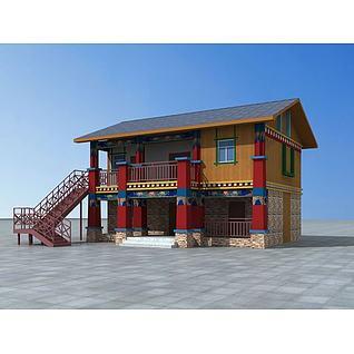 藏式民居建筑3d模型3d模型