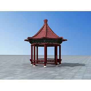 藏式八角亭3d模型