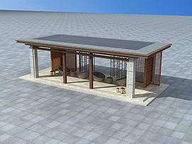 现代休息凉亭3d模型