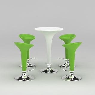 绿色清新吧桌椅3d模型3d模型