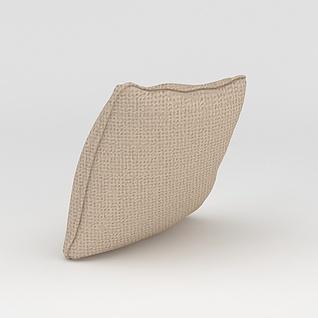 米色布艺少发靠枕3d模型