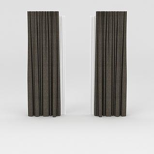 棕色布艺窗帘3d模型