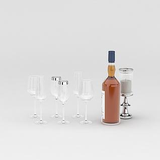 洋酒和高脚杯3d模型3d模型