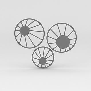 车轱辘墙饰3d模型3d模型