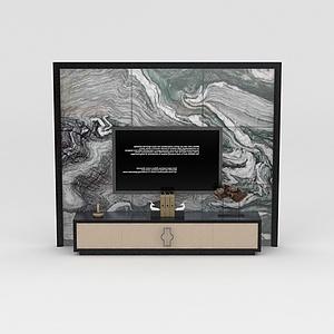 电视柜背景墙组合模型