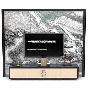 电视柜背景墙组合模型3d模型
