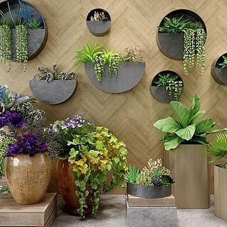 绿植盆栽组合3d模型