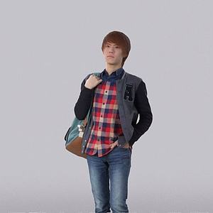 3d背包男人模型