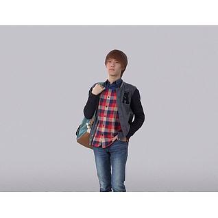 背包男人3d模型
