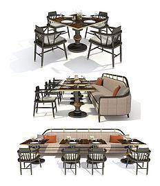 3d新中式餐桌椅组合模型