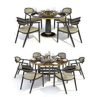 新中式餐桌椅餐具组合3d模型