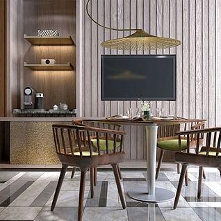 酒店餐桌椅电视柜组合3d模型