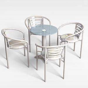 室外不銹鋼休閑桌椅模型