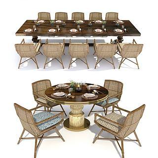 竹编餐桌椅餐具组合3d模型