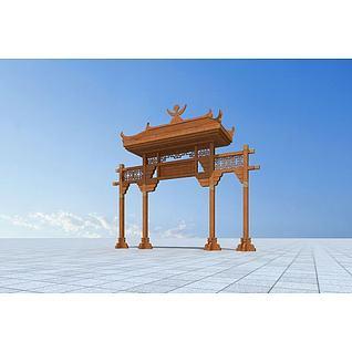 景区大门3d模型3d模型