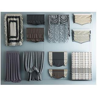 厨卫布艺窗帘3d模型