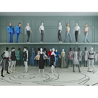 商场服装模特道具3d模型
