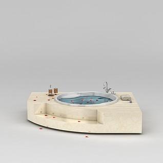 高档圆形浴缸3d模型