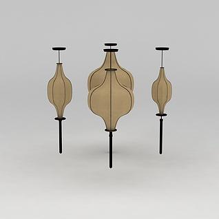 中式风格灯笼吊灯3d模型