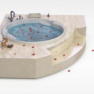 高档圆形浴缸模型