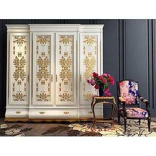 欧式雕花衣柜3d模型3d模型