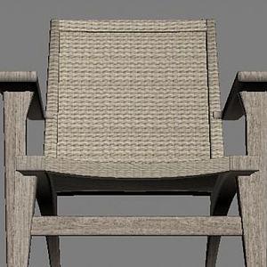 3d原木藤椅模型