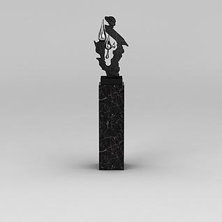 小区门口装饰雕塑3d模型